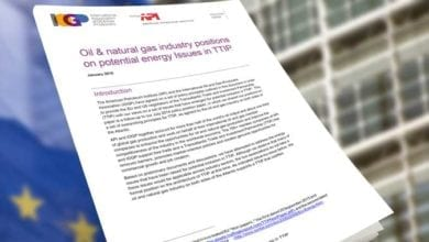 Photo of Oil & natural gas industry positions on potential energy Issues in TTIP